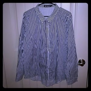 Button down navy and white striped blouse